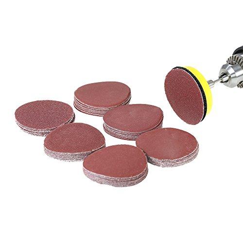 VISLONE Disco de Lija de 50 mm, papel de lija 60 PCs (100-2000grits) Kit de Almohadillas para Discos de Lija para Pulir Piedra Artificial, Muebles y Productos de Madera, Metal, Automóvil