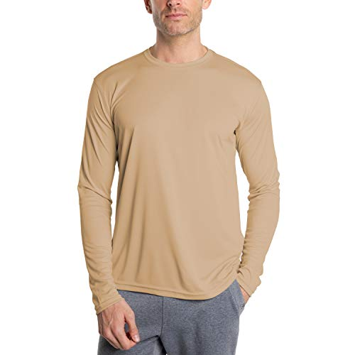 Vapor Apparel Men's UPF 50+ UV Sun Protection Outdoor Performance Long Sleeve T-Shirt X-Large Tan