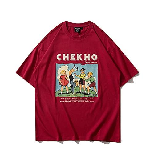 WYLYSD Camiseta con Estampado De Dibujos Animados Harajuku Streetwear Camiseta De Algodón para Hombre Cuello Redondo Pareja Top Manga Corta