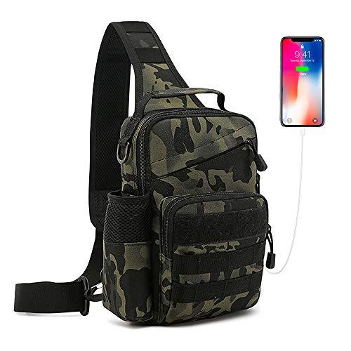 Huntvp Taktisch Brusttasche Militärisch Schultertasche mit Wasserflasche Halter, USB Ladeanschluss Chest Sling Pack Molle Armee Crossbody Bag Umhängetasche Mini Single Strap Rucksack (Typ-3-Camo)