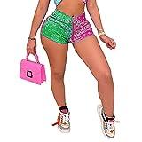 ArcherWlh Yoga Pants For Women,INS Europa y los Estados Unidos Nueva Sentido de Pantalones Cortos Patrón de impresión Moda Casual Hip de Yoga Pantalones Hembra-# 5 Verde + Rosa Rojo_S