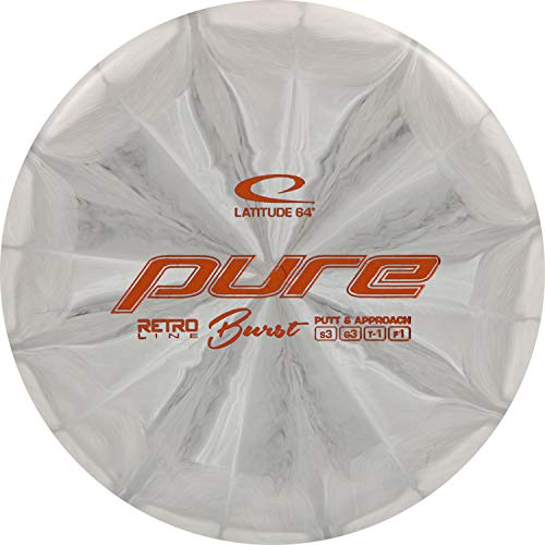 D·D DYNAMIC DISCS Latitude 64 Retro Burst Pure Disc Golf Putter   Frisbee Golf Putt and Approach Disc   170g Plus   Stamp Color and Burst Pattern Will Vary (Gray)
