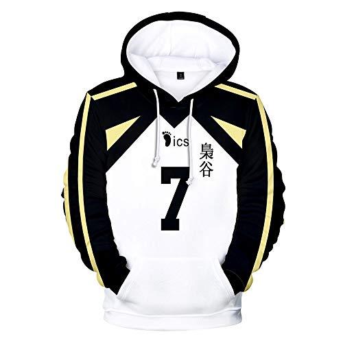Haikyuu !! Les As du Volley Cosplay Hoodie Shirt, lycée Fukurodani avec numéro de Tenue, Maillots Uniformes de Volley-Ball Pull Veste Cosplay Manteau Anime Sweat vêtements