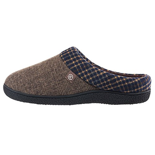 ISOTONER Men's Plaid Hoodback Slippers (XX-Large, Taupe)