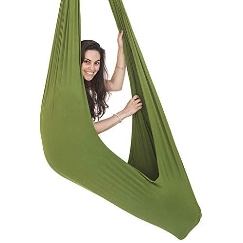 LHHL Aerial Yoga Schaukel Therapieschaukel für Kinder mit besonderen Bedürfnissen, Kuschel-Hängematte ideal für sensorische Integration (Farbe: Grün, Größe: 100 x 280 cm)