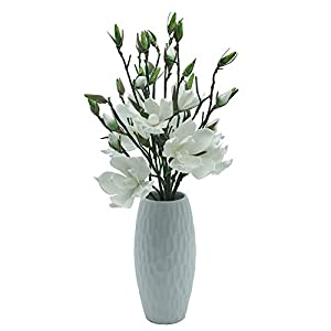 KORSMV 3 Stems Foam Magnolia Flower Branch,Fake Flower stem,Foam Flower,Spring Silk Flower Wreath Arrangement,Home Office Living Room Wedding Bridal Bouquet Bedroom Floor Vase Decorations