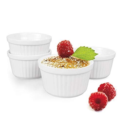 White Ramekins 3.5' (9cm) for Cooking, Ramekins, 4 Pieces of Souffle Dishes, Ramakins for Cooking- 180ml, Baking Dish for Kitchen Baking (white)