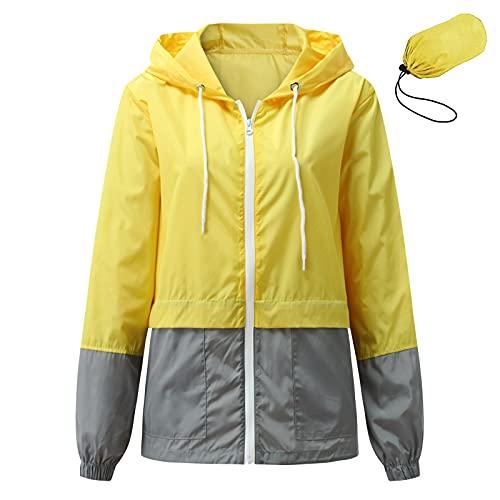 NaRHbrg Raincoat Hoodie for Women Waterproof Windbreaker Lightweight Rain Jackets Packable Long Sleeve Coat for Teen Girls Yellow