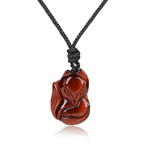 coai Geschenkideen Unisex Glückskette mit Fuchs Anhänger aus Rotem Tigerauge Amulett Verstellbare Kette