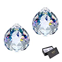 "GREAT VALUE PACK: Come with 2pcs * 1.57""/40mm crystal ball prism for hanging in a nice gift box. With these crystal prisms will add your room more colorful PREMIUM CRYSTAL SUNCATCHER: Each ball is finely crafted, could turn the sun's rays into many r..."