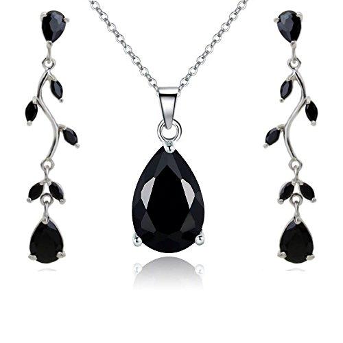 Lágrimas Juego de Joyas con Negro Cristales austríacos de Zirconia Collar con Colgante 45 cm Pendientes 18k Chapado en Oro Blanco para Mujer
