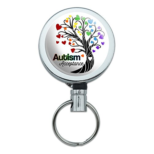 Autism Acceptance Tree of Life with Hearts Heavy Duty Metal Retractable Reel ID Badge Key Card Tag Holder with Belt Clip