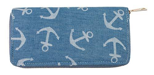 Out of the Blue 230102 - Geldbörse Anker, ca. 19 x 10 cm, mit mehreren Scheinfächern, Kartenfächern und Reißverschlussfach für Kleingeld, blau