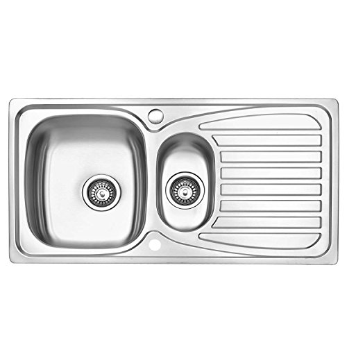 JASS Ferry Stainless Steel Kitchen Sink Inset 1.5 Bowl Reversible Drainer with Waste Pipes Clips - 10 Year Guarantee