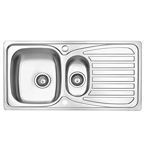 JASS FERRY Fregadero de cocina, acero inoxidable, 1,5 senos, reversible, con trampilla para residuos, tuberías y clips 950x500mm