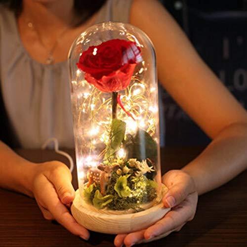 schwarz ewige blumen geschenke Dekoration, Glaskuppel, Holzsockel, voller schöner Bedeutung Ewige Rose Geeignet für Heiratsantrag, Erntedankfest, Valentinstag, Kindertag, 13 × 13 × 16 CM, 1,0 kg