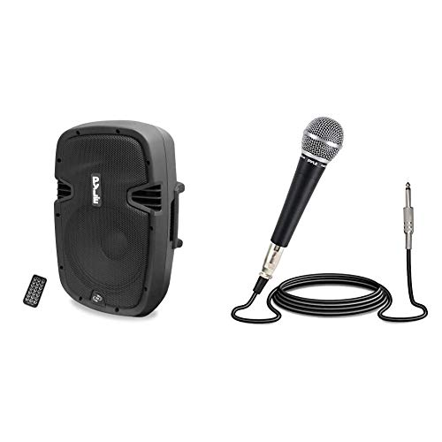 Powered Active PA Loudspeaker Bluetooth System - 10 Inch Bass Subwoofer Monitor Speaker and Built-in w/Pyle-Pro Professional Moving Coil Dynamic Cardioid Unidirectional Vocal Handheld Microphone