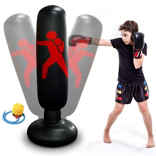 Boxsack Kinder 160 cm Aufblasbarer Boxsack für Kinder Erwachsene Standboxsack Boxsäule Tumbler für Kickboxen, Karate und Stressabbau