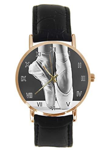 Reloj de pulsera analógico de cuarzo rosa con correa de cuero y correa de cuero para bailarín de ballet unisex