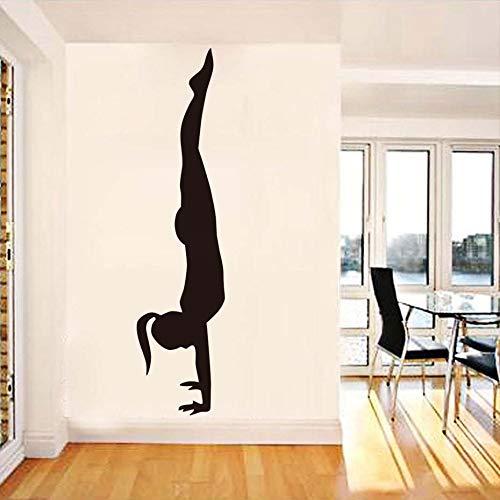 Schwarz gedruckt yoga vinyl wandtattoo handstand mädchen wandkunst wandaufkleber yoga zimmer sport wandaufkleber schlafzimmer dekoration 55 cm x 229 cm