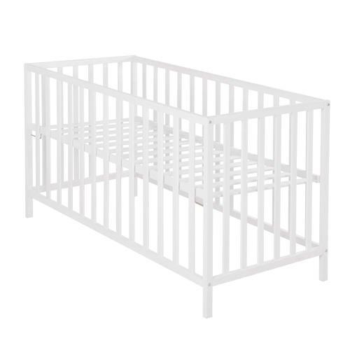 roba Kinderbett 'Cosi', 60x120 cm, Babybett Buche Massivholz weiß, Gitterbett 3-fach höhenverstellbar