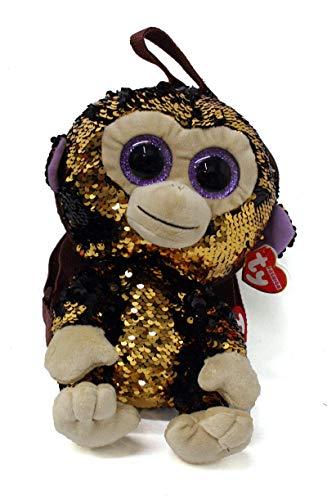 Ty – Zaino in peluche con paillette, motivo: Coconut le Singe, TY95022, marrone
