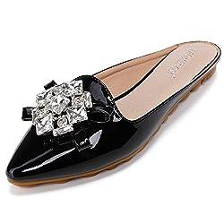 Rhinestone Mules Pointed Toe Slip On Black Sandal
