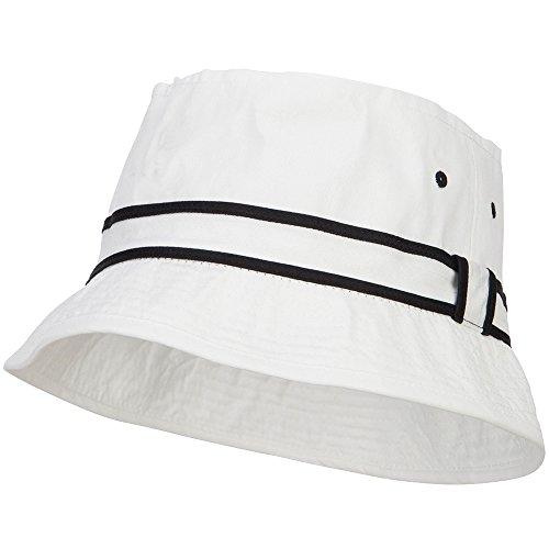 e4Hats.com Big Size Striped Hat Band Fisherman Bucket Hat - White Black XL-2XL