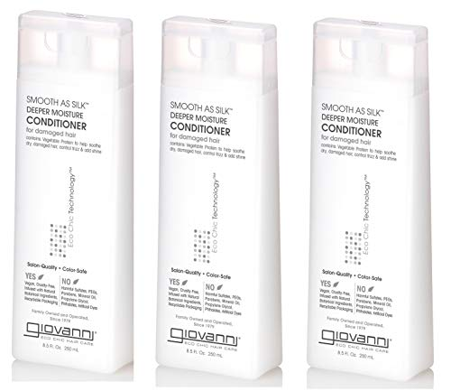 GIOVANNI Smooth As Silk Deeper Moisture Conditioner, 8.5 oz. Calms Frizz, Detangles, Wash & Go, Co Wash, No Parabens, Color Safe, Sulfate Free (3 Pack)