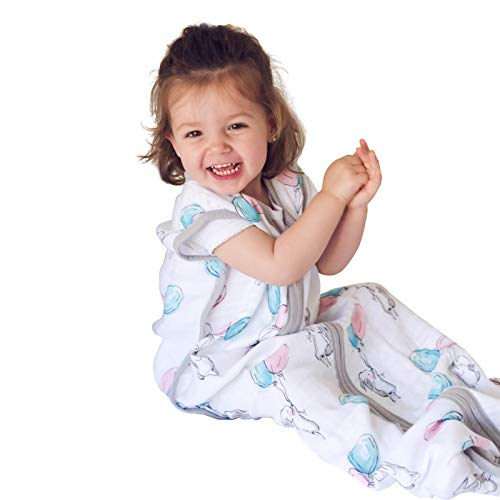 Muslin Sleeping Bag and Sack, Premium Cotton Breathable Wearable Blanket for Baby, 18-36 Months, 0.5 TOG