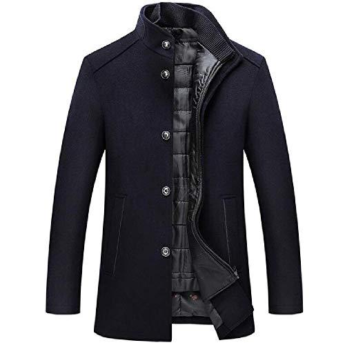 Abrigo de lana de los hombres de invierno cortavientos largo grueso chaquetas de lana hombre collar de pie solo pecho con chaleco de lana abrigos
