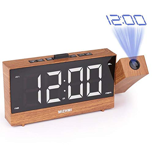 FCX-CLOCKS Wecker Projection Funk Wecker Digitale Projektionswecker Wecker mit Projektion LED Wecker Reisewecker Alarm Clock Projektion Dual USB Kinder Wecker Bett Nicht Ticken Projektor Wecker