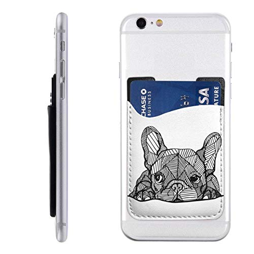 Cute French Bulldog Phone Card Holder Phone Wallet - Adhesive Sticker ID Credit Card Wallet Pocket Pouch Wallet for iPhone and Android Smartphones