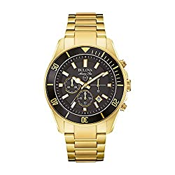 The Best Bulova Men's 43mm Marine Star Black Dial Goldtone Chronograph Watch with Luminous hour and minute Hands