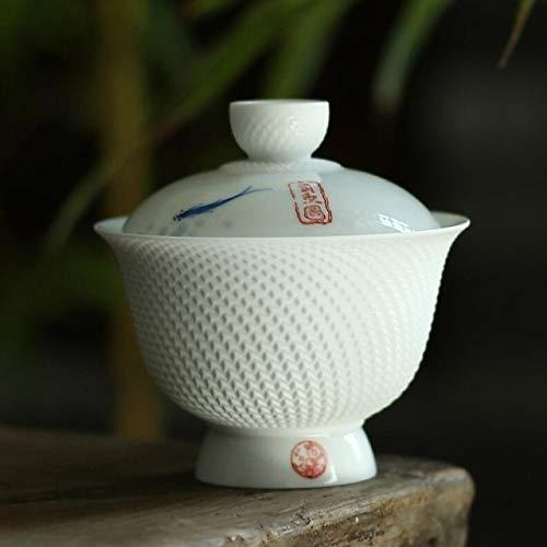 BLI Juego de té Oriental Tetera de Olla de cerámica Tapa Pintada a Mano Tazón Taza de té de Pescado Porcelana Juego de té Retro Kung Fu Cerámica1