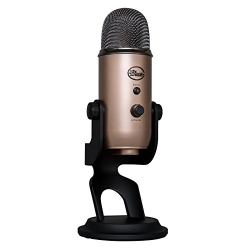 Blue Yeti USB Mic for Recording & Streaming on PC and Mac, 3 Condenser Capsules, 4 Pickup Patterns, Headphone Output and Volume Control, Mic Gain Control, Adjustable Stand, Plug & Play - Copper