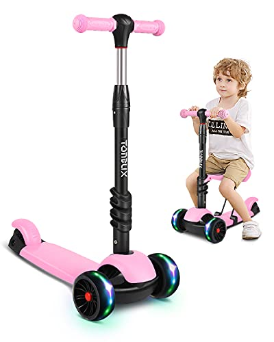 Toddler Scooter, TONBUX Kick Scooters for Kids Ages 3-5 with Adjustable Height Removable Seat, 3 Wheeled Scooters for Girls Boys Ages 2 4 6 7 8 (2 in 1,Pink)