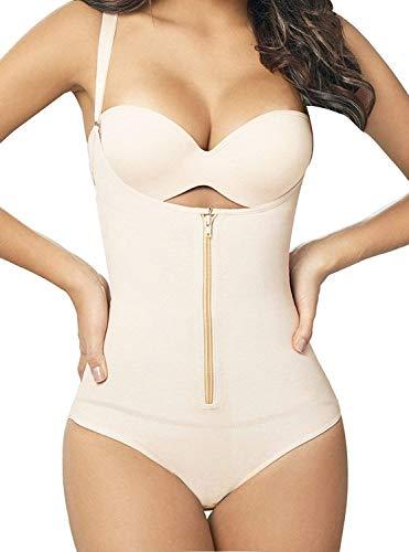 SHAPERX Womens Fajas Colombianas Body Shaper Butt Lifter Zipper Closure Open Bust Thong Bodysuit Shaperwear, SZ70950-Skin-3XL