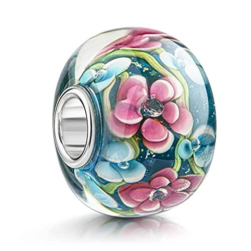 Materia – abalorios de cristal de Murano con motivo de flores, colores rosa, azul, verde–plata 925, 12x 15mm, #1471