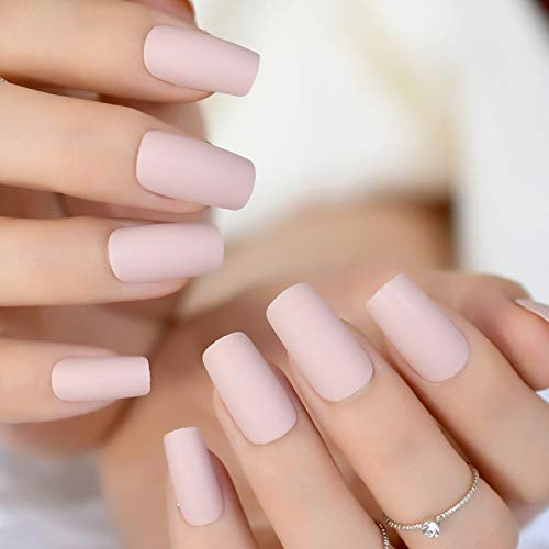 CoolNail Soft Pink Purple Matte False Nails Light Lilac Color Frosted Women Fake Nail Square Top Finish Designs Finger Nail Art Tips