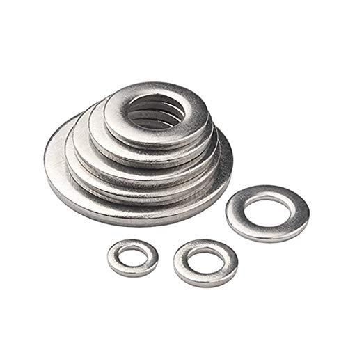 KINDOYO Arandelas Planas Acero Inoxidable - Redonda Metal M1.6/M2/M2.5/M3/M3.5/M4/M5 Arandela Abrochador, Plateado, M3*7 * 0.5(100 Piezas)
