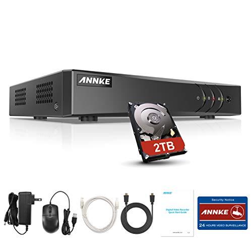 ANNKE DVR 8 Kanal 5MP HD 5in1 TVI/AHD/CVI/CVBS/IPC DVR Receiver Netzwerk Digital Video Recorder mit 2TB Festplatte für CCTV Überwachungskamera HDMI VGA Ausgang
