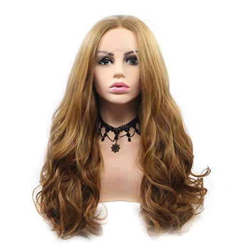 Pixier Dégradé Brown Perruque longue ondulée Big cheveux bouclés ondulés pour femmes Respirant haute qualité mode cheveux longs synthétique partie perruque du parti Party,Dégui