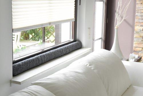 Dispositivo anti corrientes de aire para ventana 100 % lana virgen, antracita, 120 x 10 x 5 cm.