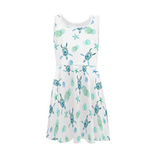 InterestPrint Classic Girls A-Line Sleeveless Dress Summer Casual Dresses for 4-13 Years Watercolor Sea Turtle Starfish Sea Life M