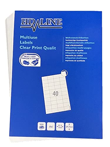 LEYF 1 X A4 etichette per indirizzi 70 x 37 mm, carta autoadesiva opaca, stampabile, etichette universali, (1 confezione x 100 fogli x 40 etichette = 4000 etichette adesive), bianco