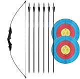 D&Q Archery Recurve Bow Set 30 40LBS Takedown Straight Bow Kit for Beginner Right Left Hand Practice Shooting (Black, 30LB)