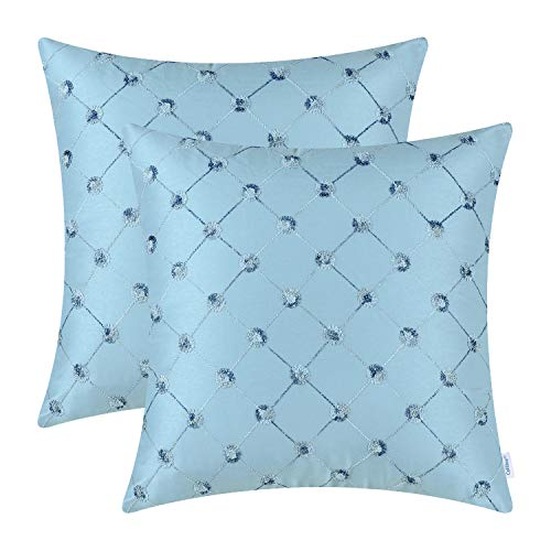 CaliTime Pack of 2 Cushion Covers Throw Pillow Cases Shells for Sofa Couch Home Decoration 18 X 18 Inches Modern Diamonds Shape Geometric Chain Embroidered Teal