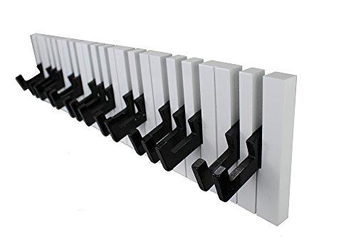 GMMH Design Wandgarderobe Kleiderhaken Hakenleiste 16 Haken Klavier Garderobe Piano NEU (schwarz-weiß)