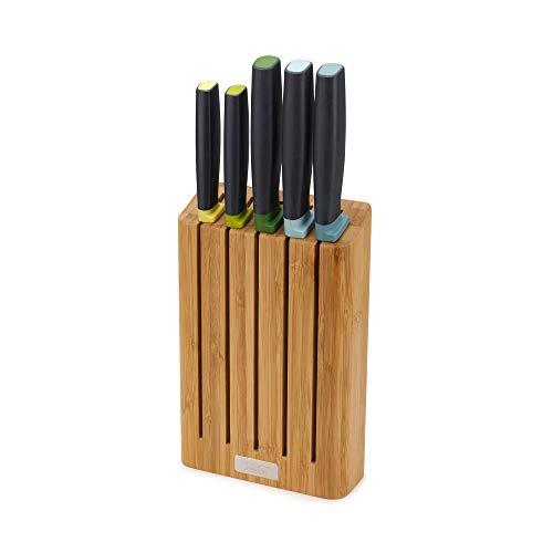 Joseph Joseph 10300 Elevate Set di Coltelli con Ceppo Portacoltelli in bambù dalla Linea Sottile, Opal